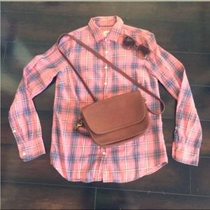 "J.Crew ""The Boy Shirt"" Pink Plaid Flannel Shirt"